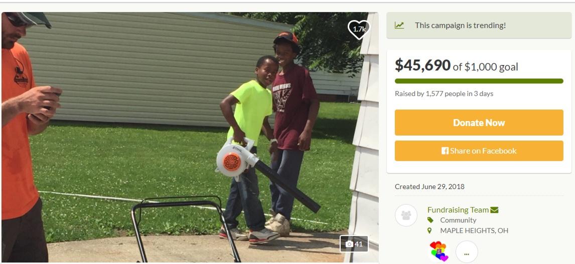 Quelqu'un a appelé la police pour arrêter un enfant de 12 ans, son nom est Reggie Fields. Couper gazon
