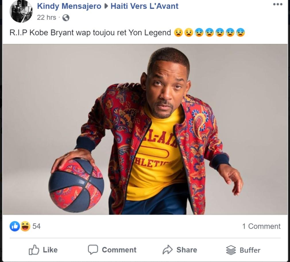 Regarder cette photo de Will Smith que quelqu'un a publie sur Facebook en pensant que c'est Kobe Bryant (c'est tres hilarant, clairement on peut conclure que cette personne ne sait même pas qui étaitKobe).